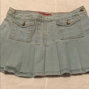 Glo pleated Jean mini skirt juniors 7 EUC cute